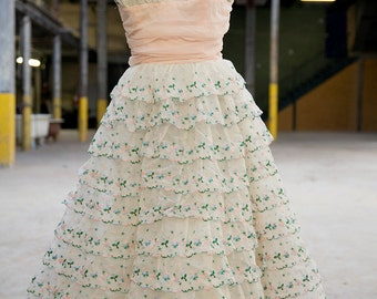 50's strapless party gown prom dress