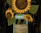Sunflower Mason, 8x10 Printable download, Primitive Deco, paper crafts