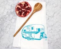Happy Camper Tea Towel - Cotton Flour Sack Towel - Vintage Camper - Camping - Handmade - Absorbent Kitchen Towel - Eco Friendly
