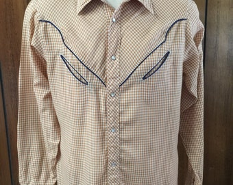 Saturdays in California Light Weight 1970's Men's Plaid Western Shirt Pearl Snap Buttons Blue Pipping Yoke Slit Pockets *Free USA Shipping**