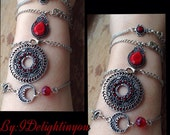 Red Bracelet Set-Tribal inspired jewelry-Bridal-Prom-Mother, sister, daughter gift