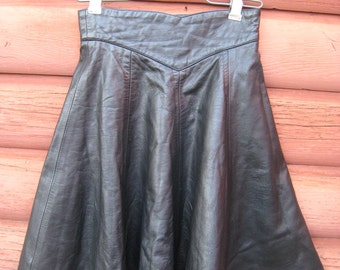 Genuine Black Leather A-Line Skating Skirt Extra Small XS by Tannery West