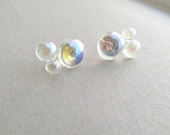 Bubble Stud Earrings, bubble bath, novelty earrings