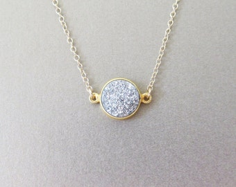 Silver Druzy Necklace - Pendant Necklace - Gold Necklace