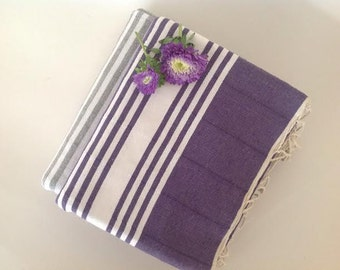 Turkish Towel, home-garden / bath-beauty Peshtemal , Natural Cotton Beach Towel, for her, for christmas, gift, Elegant, purple
