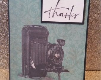 Thank you card, camera card, thanks, photographer card, blank card, greeting card