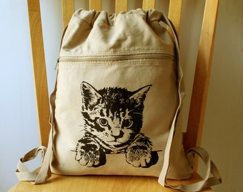 Cat Backpack Canvas Laptop Bag Kitten School Bag