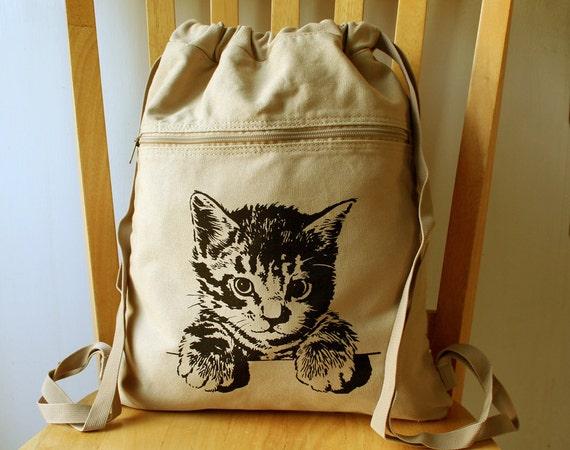 Cat Backpack Canvas Laptop Bag Kitten School Bag