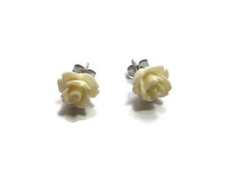 Ivory Rose Stud Earrings ~ Cream ~ One Pair ~ 10mm - Post Earring ~ Flower ~ Bridesmaid ~ White Wedding - small white flower