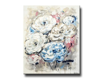 ORIGINAL Art Abstract Flower Painting Home Decor Wall Art Blue White Pink Floral Mothers Day Gift Textured Palette Knife- Christine Krainock