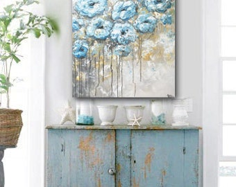 ORIGINAL Large Art Abstract Painting Blue White Flowers Acrylic Painting Grey Wall Art Home Decor Coastal Textured Palette Knife - Christine