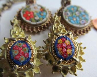 Object d' Art  Antique Italian Flower Bouquet  Micro Mosaic In Vintage Setting