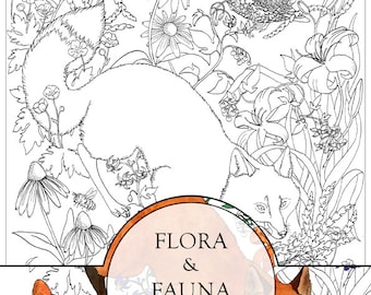 Flora and Fauna Coloring Pages Set - 100% Recycled Paper