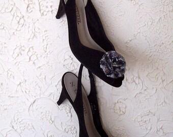 Black Sling Back Naturalizer Dress Shoes size 9.5 N brand new vintage