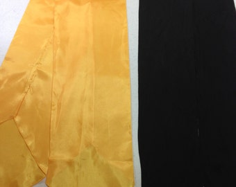 """BOGO Gold Scarf and Black Scarf Two for the Price of One, Gold is 6.75"""" by 53.5"""", Black is 5.5"""" by 65.5"""" Previously 18 Dollars ON SALE"""