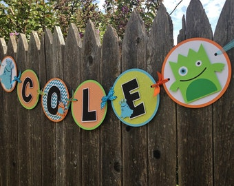 MADE TO ORDER Monster Party Name Banner - Customize Your Way