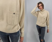 On Sale - Vintage 80s Minimalist Sweater, Slouch Sweater, Cable Knit Sweater, Funnel Neck Sweater Δ size: sm / md