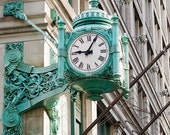 Chicago Photography, Marshall Fields Clock Photography, Chicago Landmarks Prints, Vintage, Mint Green, Blue Wall Art, Time
