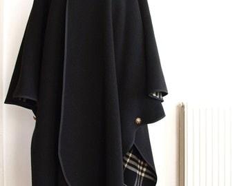 Vintage Coat Reversible - Cape Coat -  Black and Black and White Check - 1980s Coat - Swing Coat - Cape