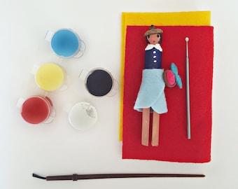 Peg Doll Kit | Crafts for Kids | DIY Set | Art Project | Superhero | Clothespin Doll