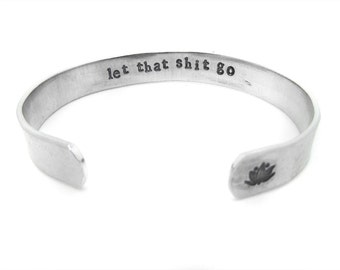 let that shit go, motivational jewelry, gift, typography, lotus flower, lotus, yoga jewelry, inspirational, let it go, friend gift