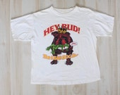 Vintage 90s T Shirt, Novelty Tee, Bulldog, Budweiser, Funny, 1990s Top