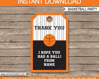 Basketball Favor Tags - Thank You Tags - Birthday Party Favors - INSTANT DOWNLOAD with EDITABLE text template - you personalize at home