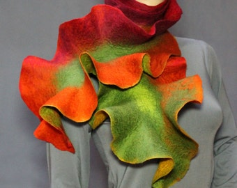 Multicolored Handmade felted scarf Long Ruffle Jabot Neck warmer double-sided Red green yellow orange red Ready to ship