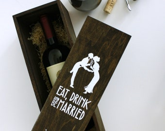 Wedding Wine Box - Can be personalized with YOUR OWN Silhouettes, wedding wine ceremony, Art Nouveau, Art Deco, Great Gatsby