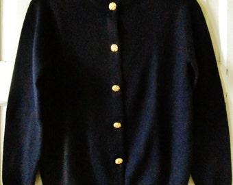 Ballantyne Navy Cashmere Cardigan Sweater
