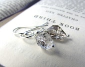 Herkimer Diamond Earrings, raw herkimers, dangle earrings, small and simple