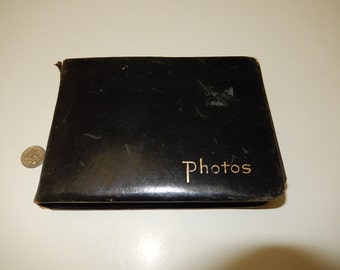 Leather small photo album-mid century photographs-Black & white photos-wedding picture-WWII plane-old cars-Sailor-