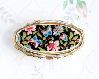 Vintage Pill Box - Small Medicine Box - flowers and Butterflies - Made in Hong Kong