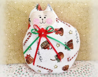 Christmas Cat Doll, Cat Pillow, Cloth Doll, 7inch, Chocolates and Candy Canes Print Fabric, Handmade CharlotteStyle Decorative Folk Art