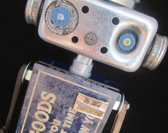 Robo Rooter Bot - found object robot sculpture assemblage by Cheri Kudja with Bitti Bots