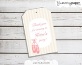 Personalized Printable Ballerina Party Favor Tag - Printable Tags for Recital Birthdays, Ballerina party printable .. bp05