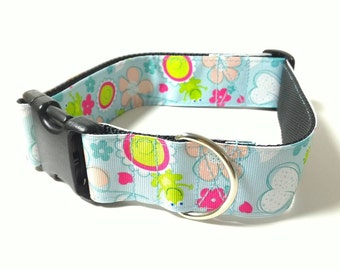 """Frogs Dog Collar, Dog Collar, Blue Collar, 1.5"""" Dog Collar or Martingale - Sky Blue with Frogs - Choose From Many Sizes"""