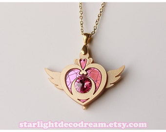 MADE to ORDER Crisis Moon Compact Sailor Moon Inspired Acrylic Necklace for Mahou Kei & Magical Girl Fashion