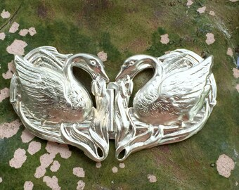 Snowy Sterling Silver Art Nouveau Swan Buckle (1 set )
