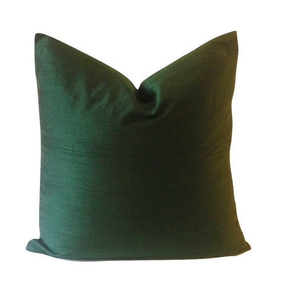 Hunter Green Silk Dupioni Decorative Pillow Cover -5 COLOR CHOICES - Invisible Zipper Closure- Knife Or Pipping Edge