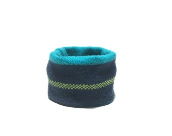 XX Small Bkue and Green Dog Neck Warmer, Handmade Designer Dog Accessory