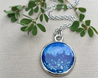 Night STAR NECKLACE / Illustrated Jewelry / Indigo Blue Fireflies and Stars Stargazing