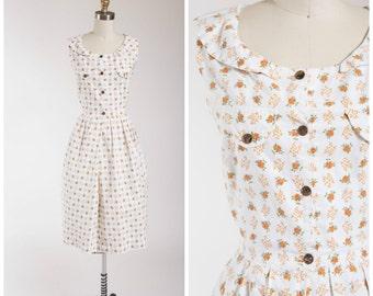 Vintage 1950s Dress • Clever Gardener • Floral Print Cotton 50s Vintage Day Dress Size Small