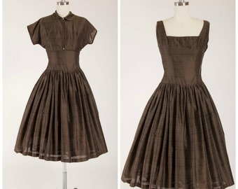 Vintage 1950s Dress • Wisps of Love • Brown New Look Brown 50s Dress with Matching Bolero Size Small