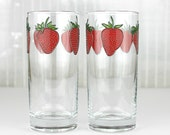 Strawberry Drinking Glasses, Set of 2, Hand Painted Glasses, Tumblers, Water Glasses, Strawberry Design, Everyday Water Glasses