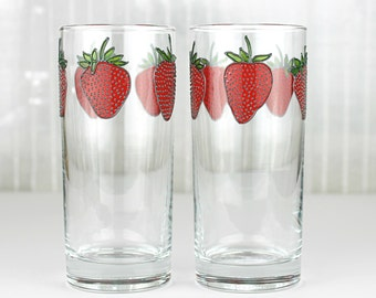Strawberry Drinking Glasses, Set of 2,  Hand Painted Crystal Highball Glasses, Tumblers, Strawberry Design, Water Glasses, Iced Tea glasses