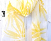Daughter Scarf Gift, Silk Summer Scarf, ETSY, Floral Summer Scarf, Buttercup Yellow Hanabi Flowers, Handpainted Silk Chiffon, 8x54 in