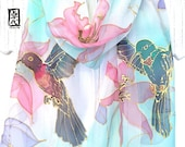 Hummingbird Scarf, Silk Scarf Hand Painted, ETSY, Chiffon Scarf, Pastel Blue Scarf, Summer Clematis with Humming Bird Scarf,  11x60 inches.