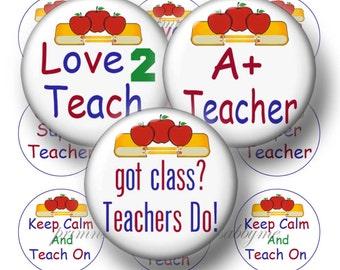 Teacher, Instant Download, 1 Inch Circles, Bottle Cap Images, Digital Collage Sheet, 4x6, Bottle Caps, Glass Tiles, Magnets, Pendants, 1w