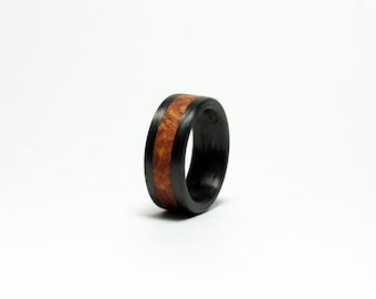 Carbon Fiber and Wood Ring - You Choose the Wood/Antler